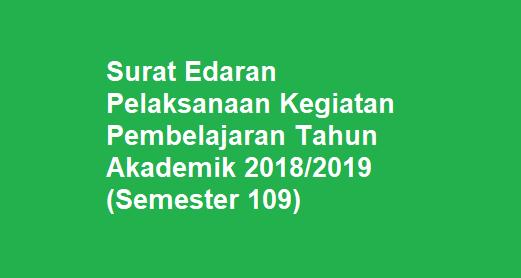 Surat Edaran Kegiatan Pembelajaran Semester 109