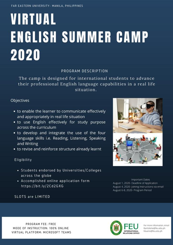 "Tawaran Kegiatan Bagi Mahasiswa/i Pascasarjana UNJ ""Virtual English Summer Camp 2020"" dari FEU Manila"